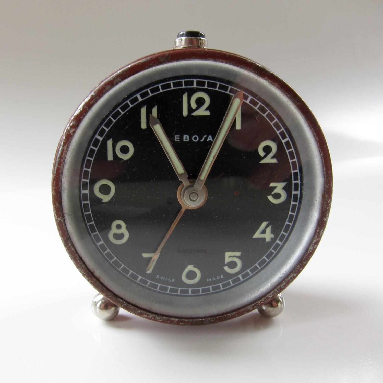 Items similar to Vintage Ebosa Swiss Made Mini Alarm Clock ...