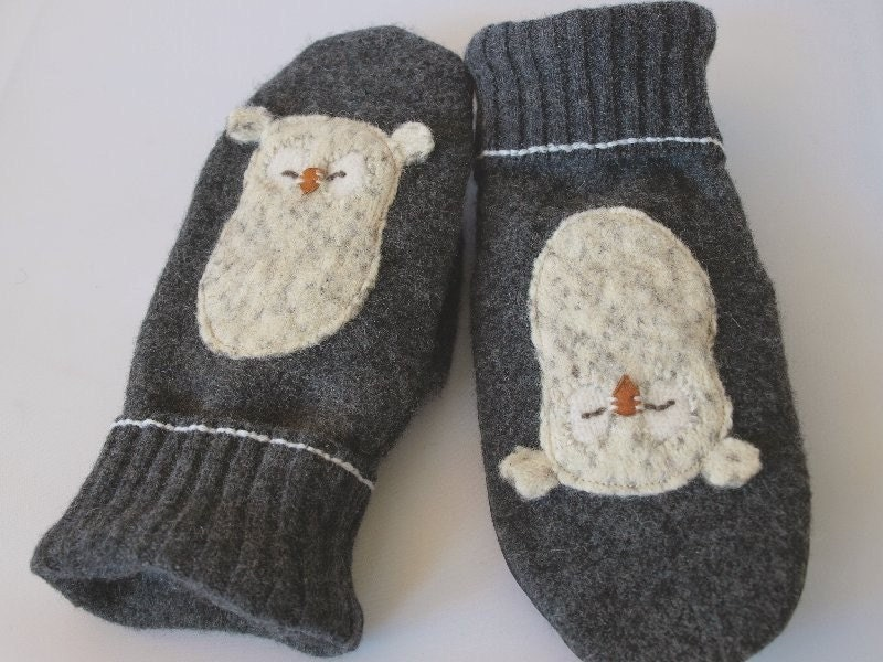 Upcycled Felted Wool Mittens  in Dark Grey, Grey, Natural White and Black with Owl Applique
