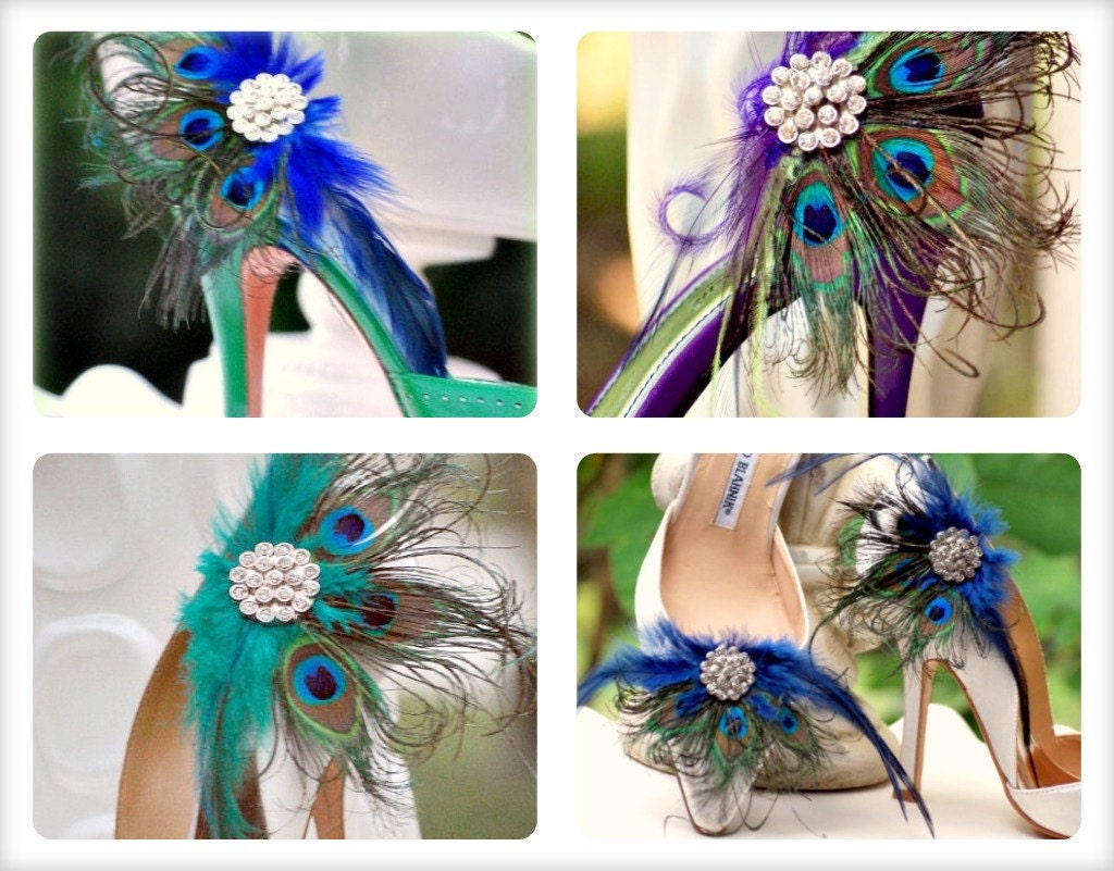 Shoe Clips Royal Blue Peacock Fan. Bride Bridal Bridesmaid Birthday Easter Sunday, Feminine Large Rhinestone Statement Spring Couture Teal