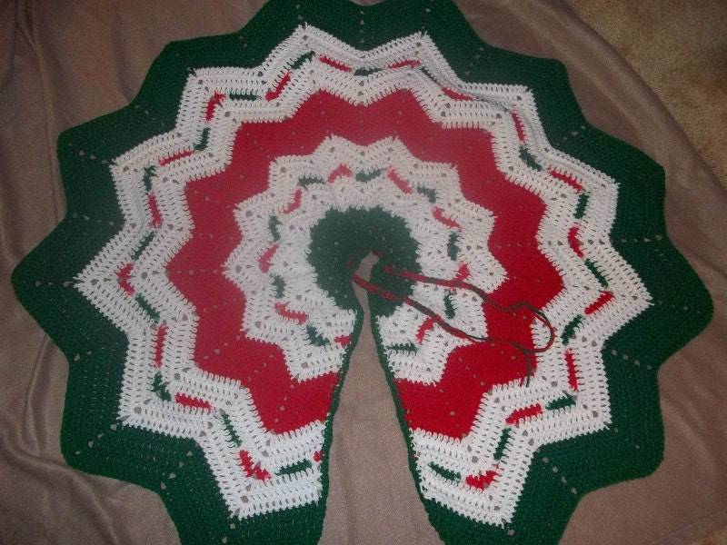 Red white green christmas tree skirt by josiesfancy on etsy for Red green christmas tree