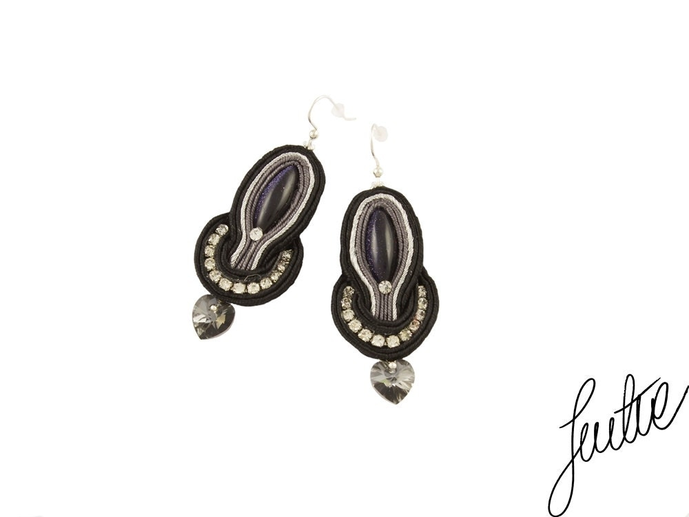 Black, sparkle handcrafted earrings, sterling silver earwires, soutache black jewelry - JustineWorld
