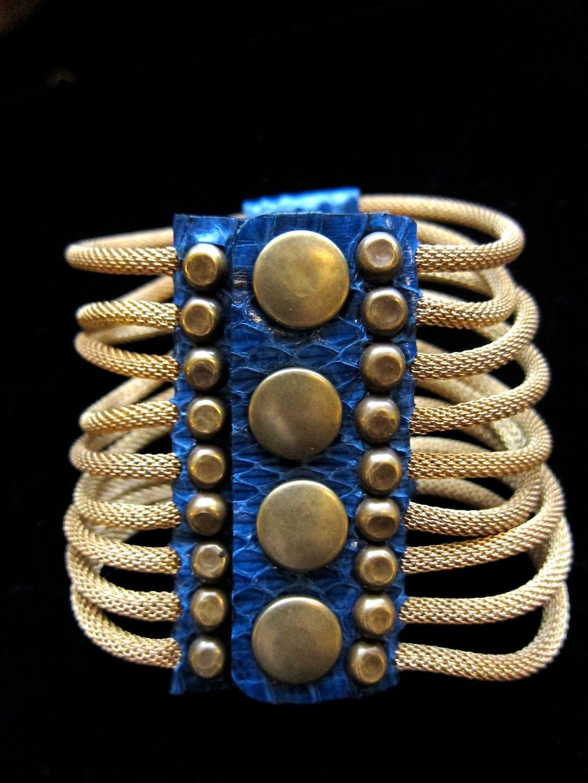 Brass Ribcage Bracelet (Cobalt Snakeskin)