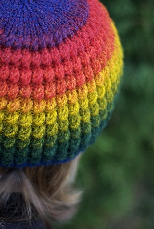 rainbow Hand knit hat