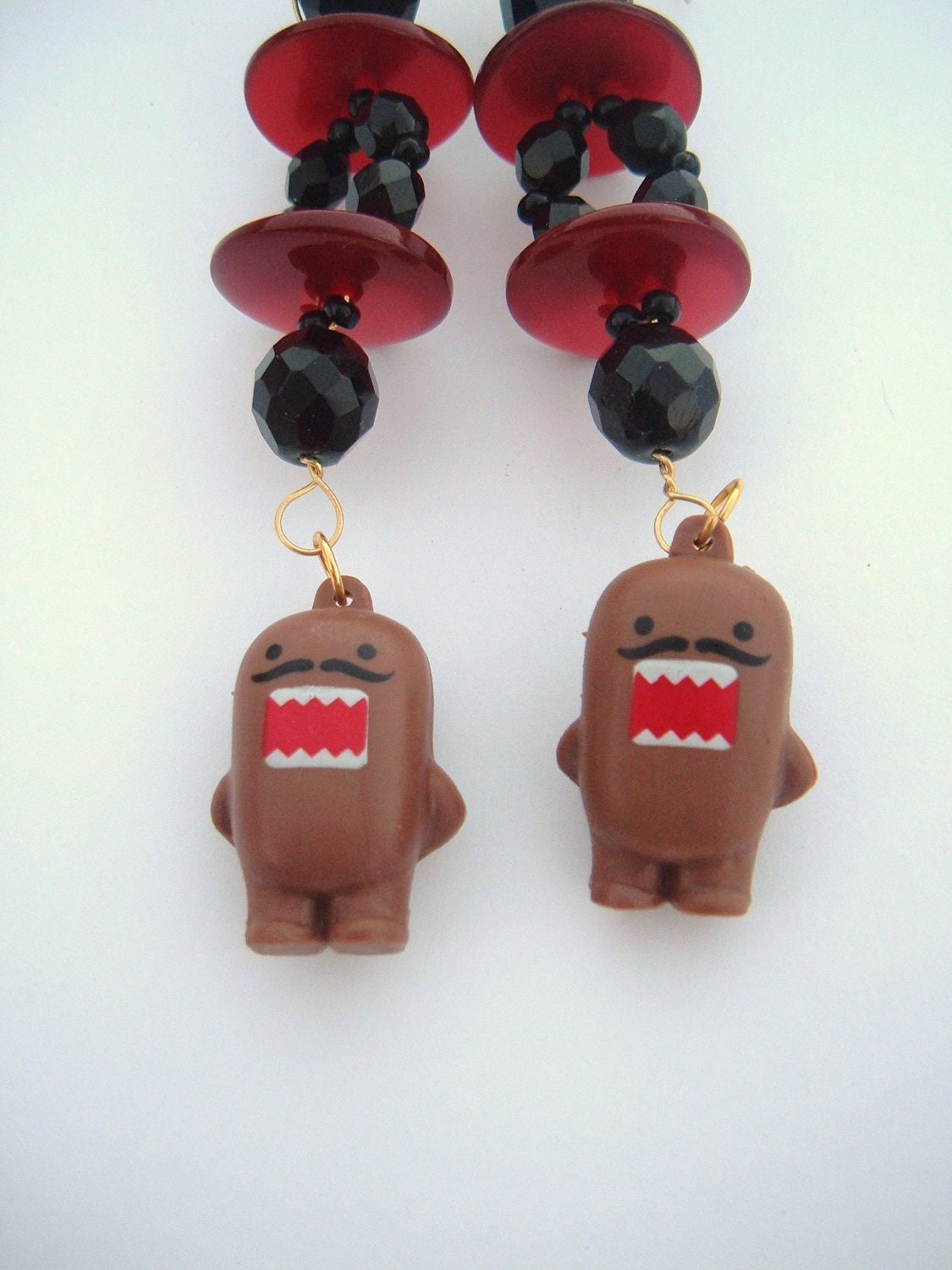 Domo earrings recycled vintage kitsch mustache red and black danglers