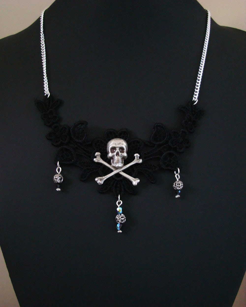 LILITH Gothic Skull and Black Lace Filigree Necklace