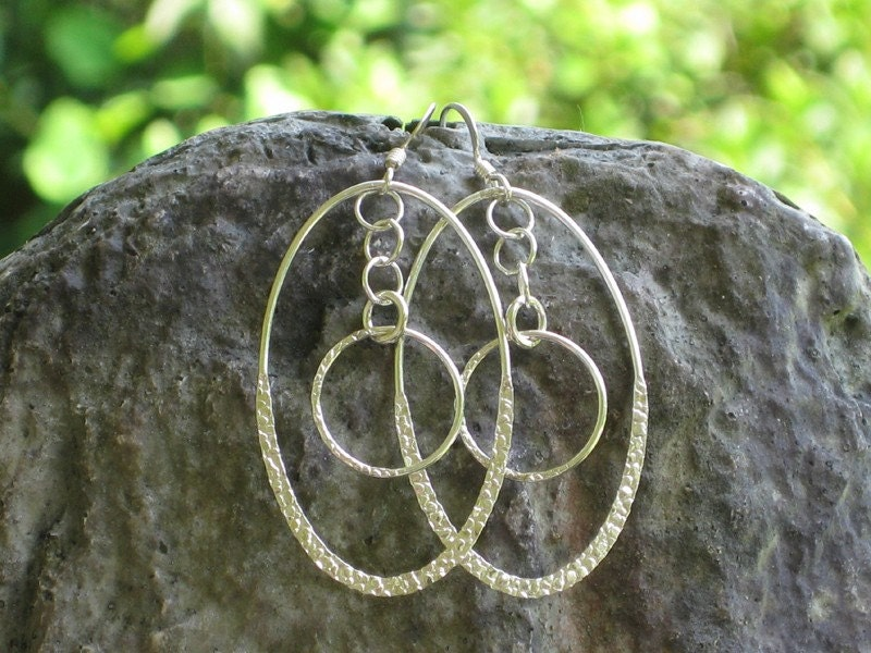 dancing dangles half textured ovals and chain link earrings