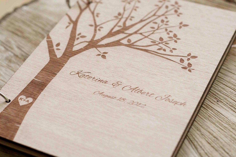 Custom Wedding Guest Book Wood Rustic By