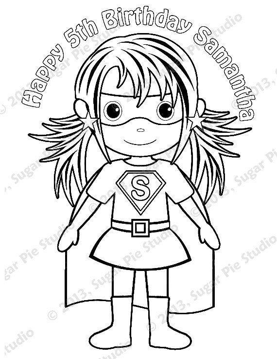 Personalized printable superhero girl birthday by for Free custom coloring pages