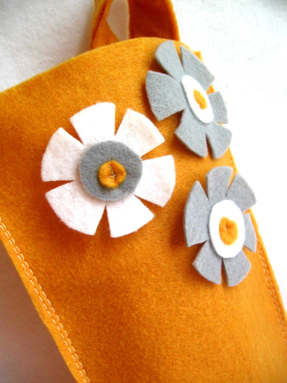 eco deal... rikrak Christmas...golden mustard with grey / gray and white felt stocking