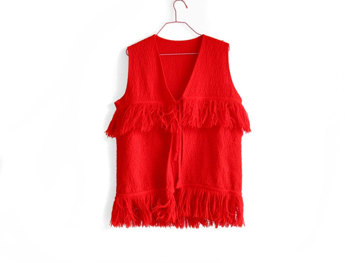 Bright Red Hippie Vest