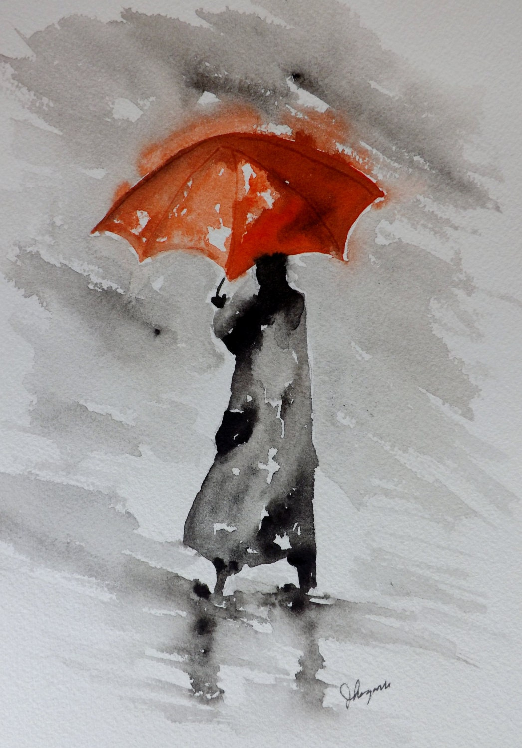 Original watercolor painting red umbrella by pinetreeart for Painting red umbrella
