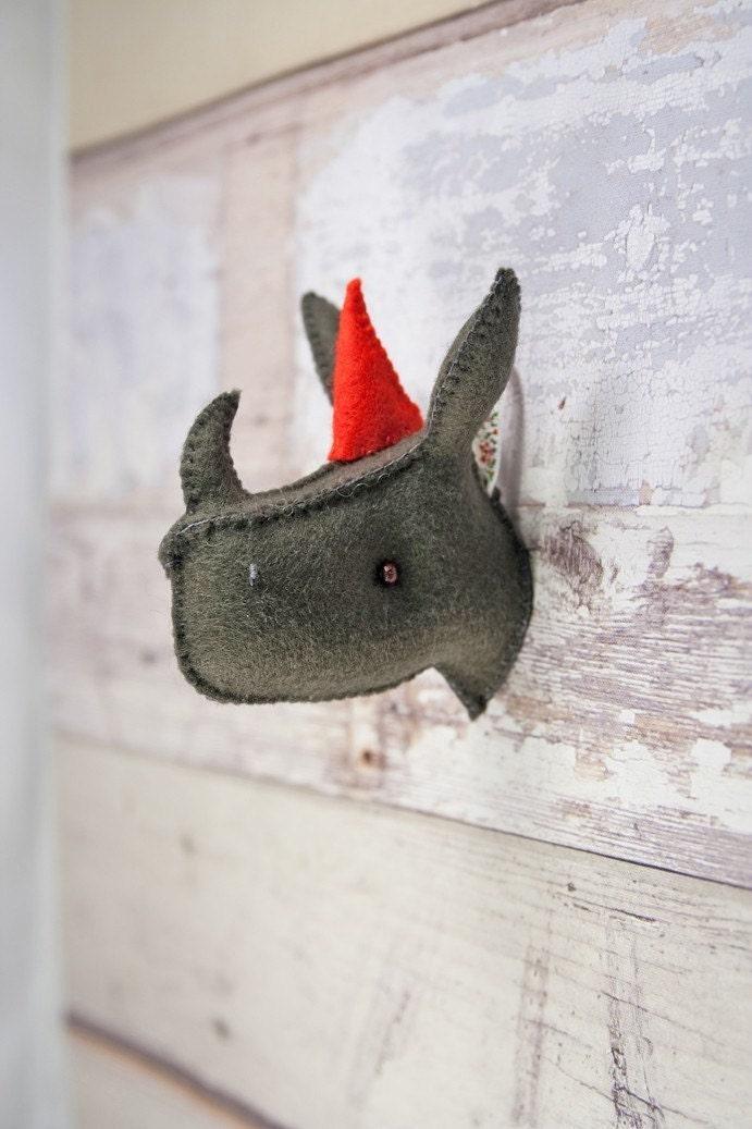 Rhino head mount - plush animal trophy - wall art decor
