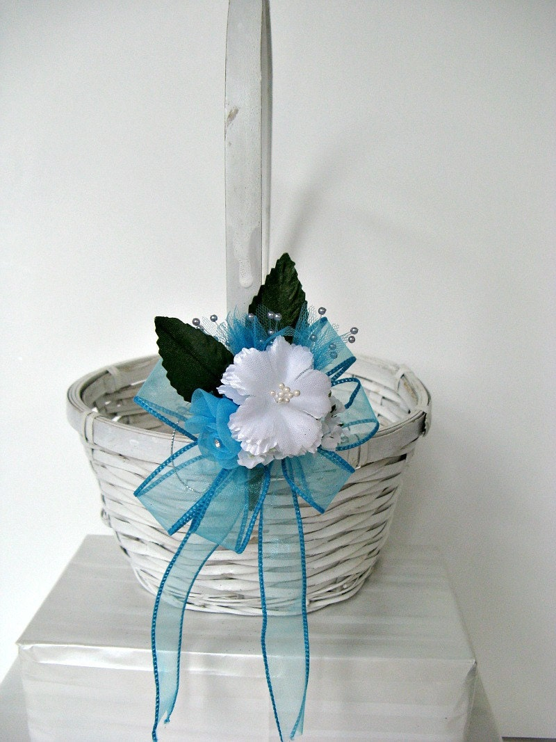 Aqua/Turquoise flower girl bow (W49)