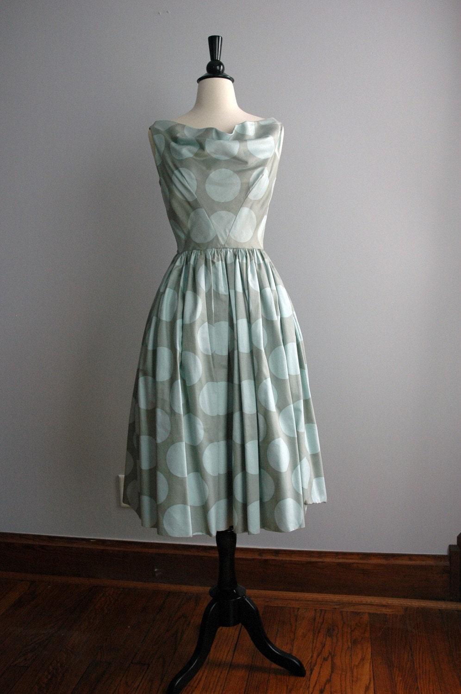 Vintage Pale Aqua Polkadot Dress with Full Skirt - Mid-1950's