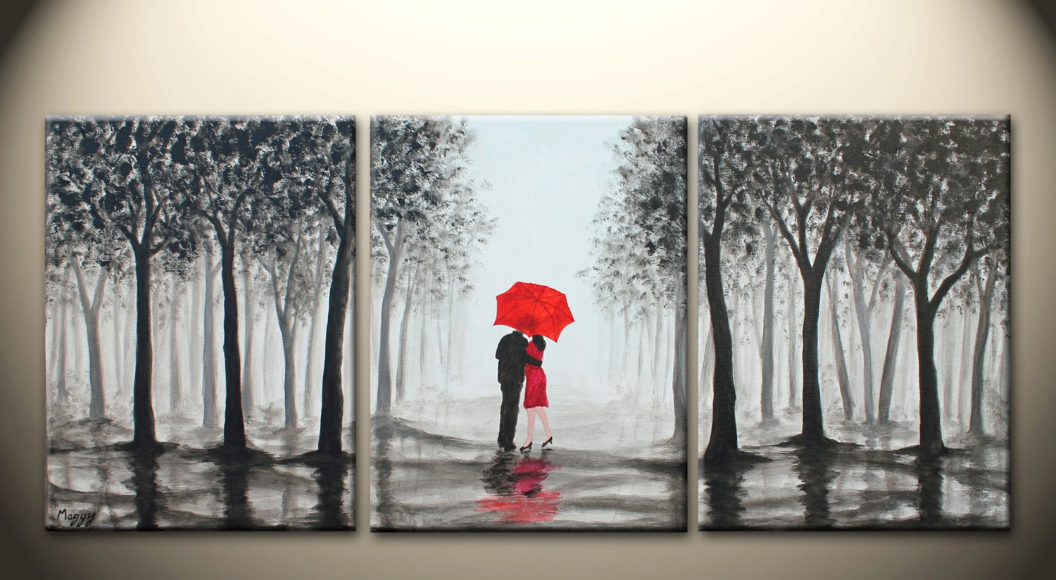 original abstract painting kissing in rain black white by ...