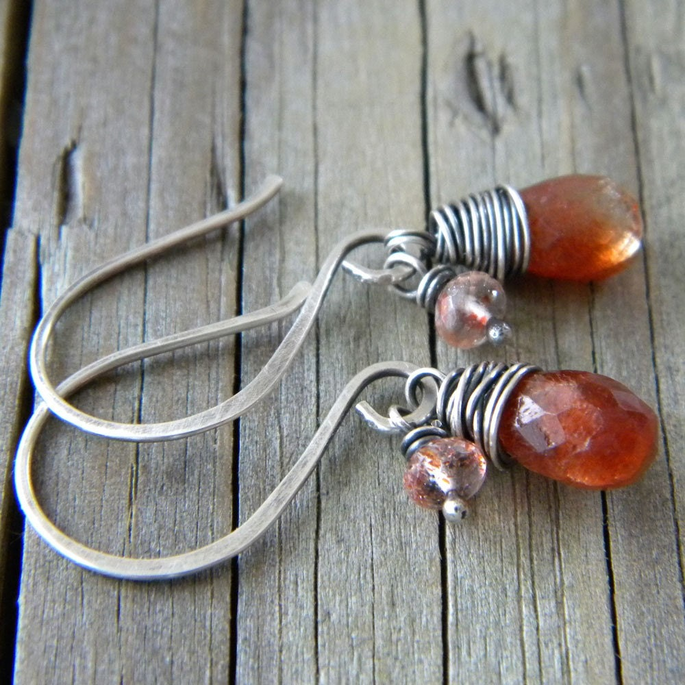 Sunstone - Copper Rutilated Quartz - Antiqued Sterling Silver Earrings