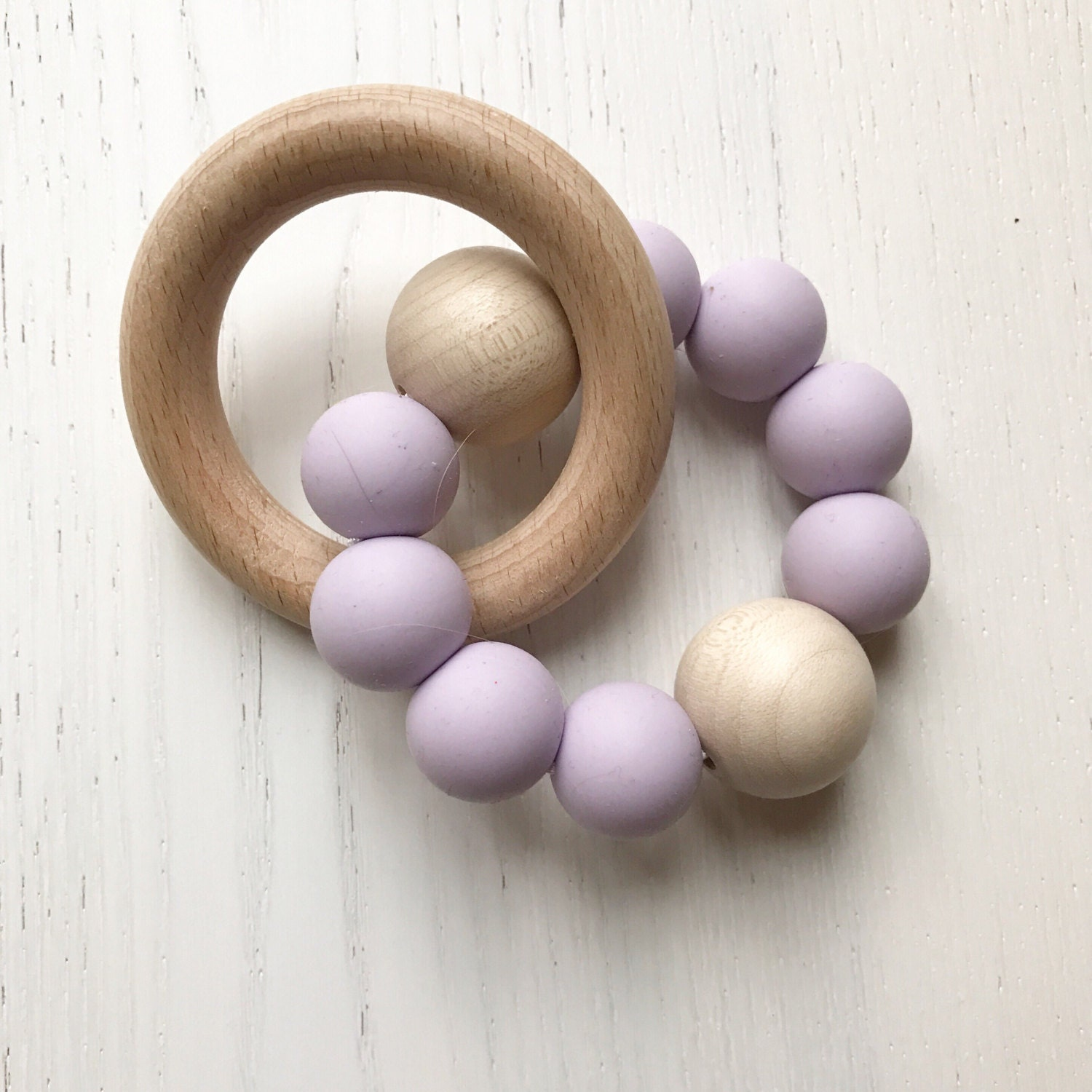 LILAC  BEECH  RATTLE Teether  Baby Gift  Teething Toy  Baby Shower