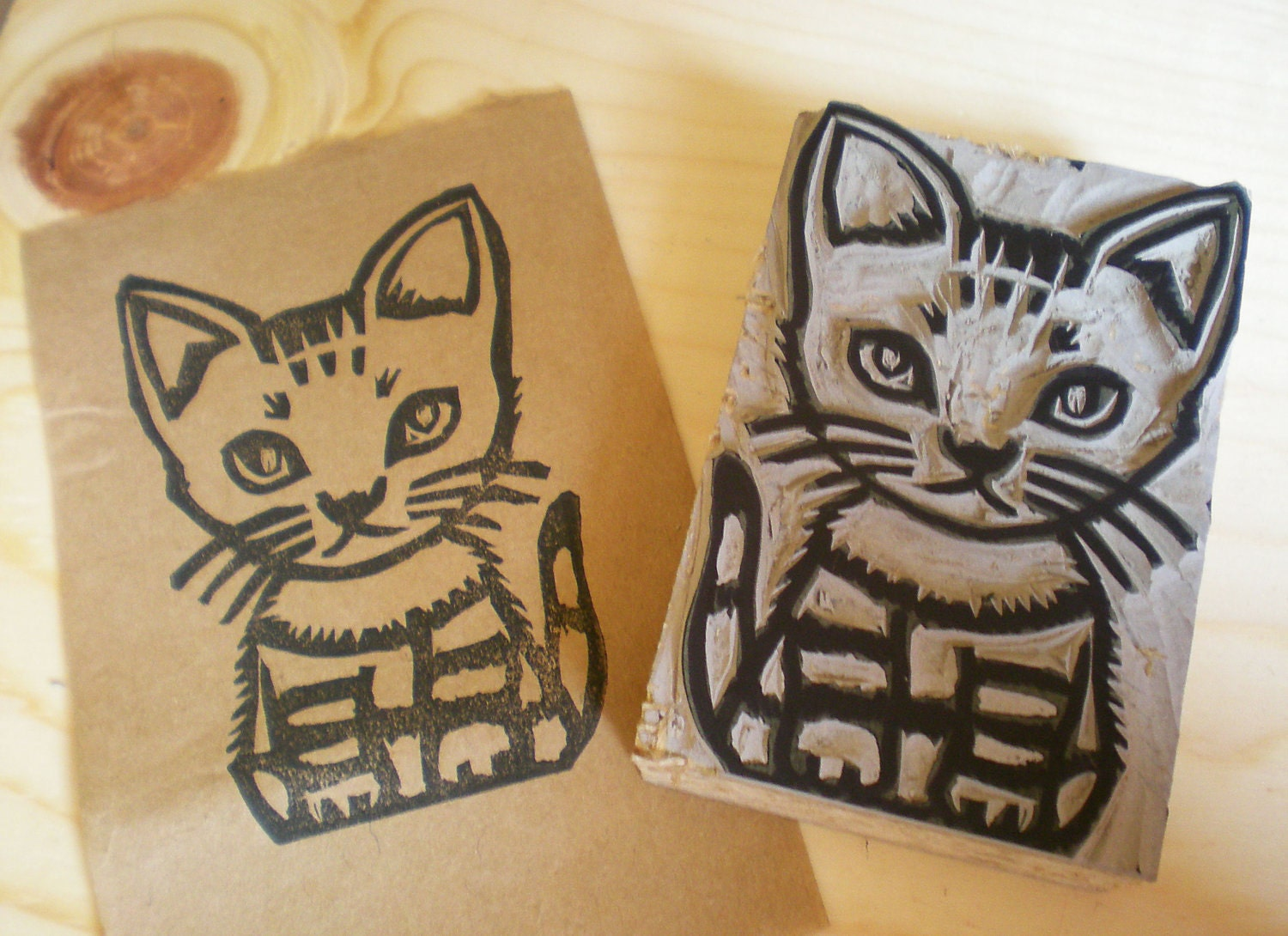 Items similar to a cat stamp hand carved linoleum block
