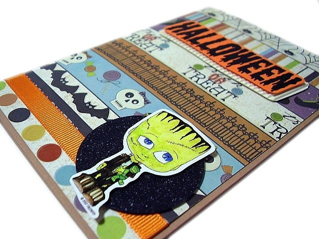 Halloween - Kreepy Kids Frankenstein Handmade Card by uniquegrabs on Etsy