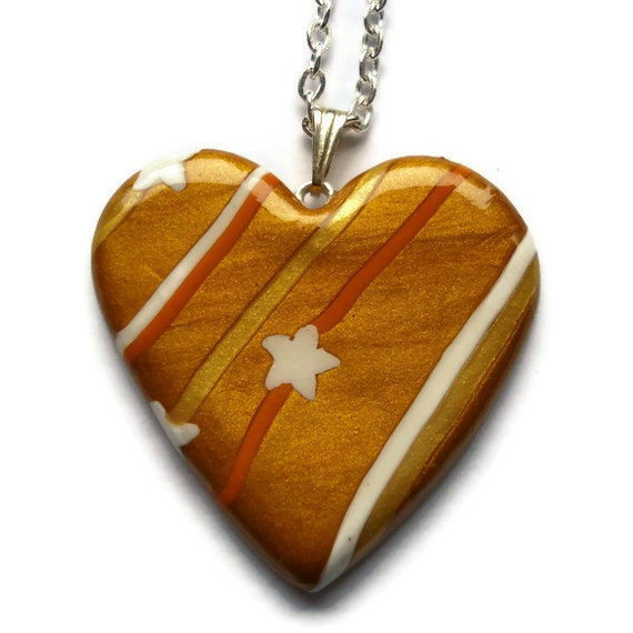 Heart pendant  Gold white and orange striped by KireinaJewellery |  Craft Juice