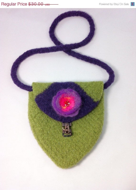 ON SALE OOAK knitted felted purple and green purse, small bag, felted bag, - BitsOfFiber