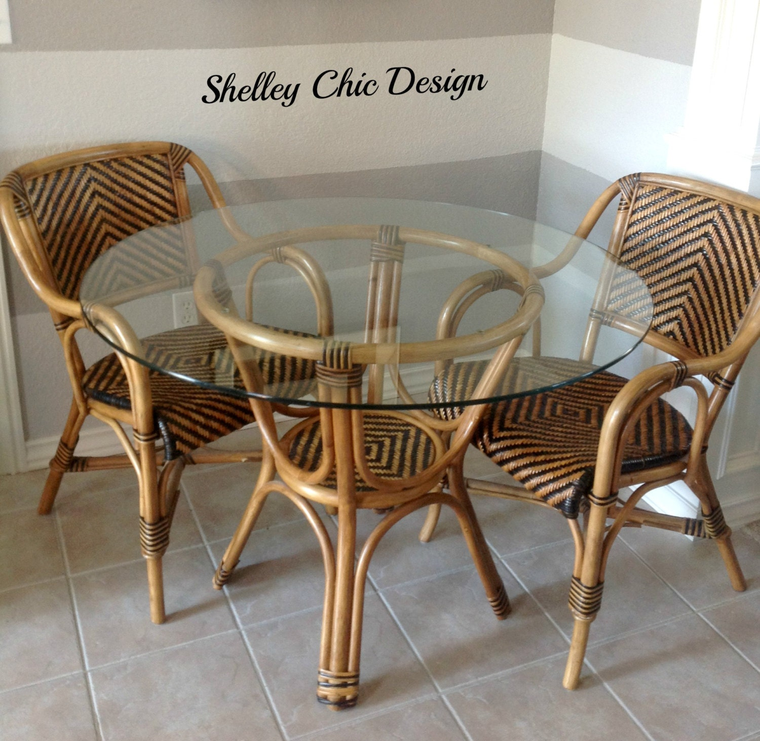 Items Similar To Vintage Woven Rattan French Cafe Bistro Table On Etsy