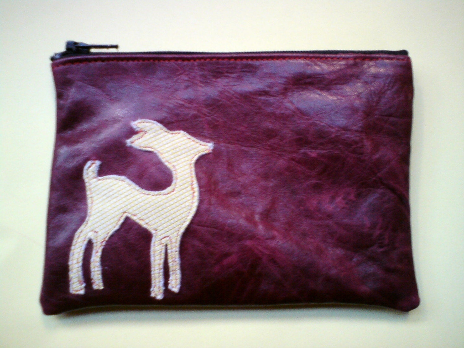 Fawn deer coin purse - Dark red/ yellow