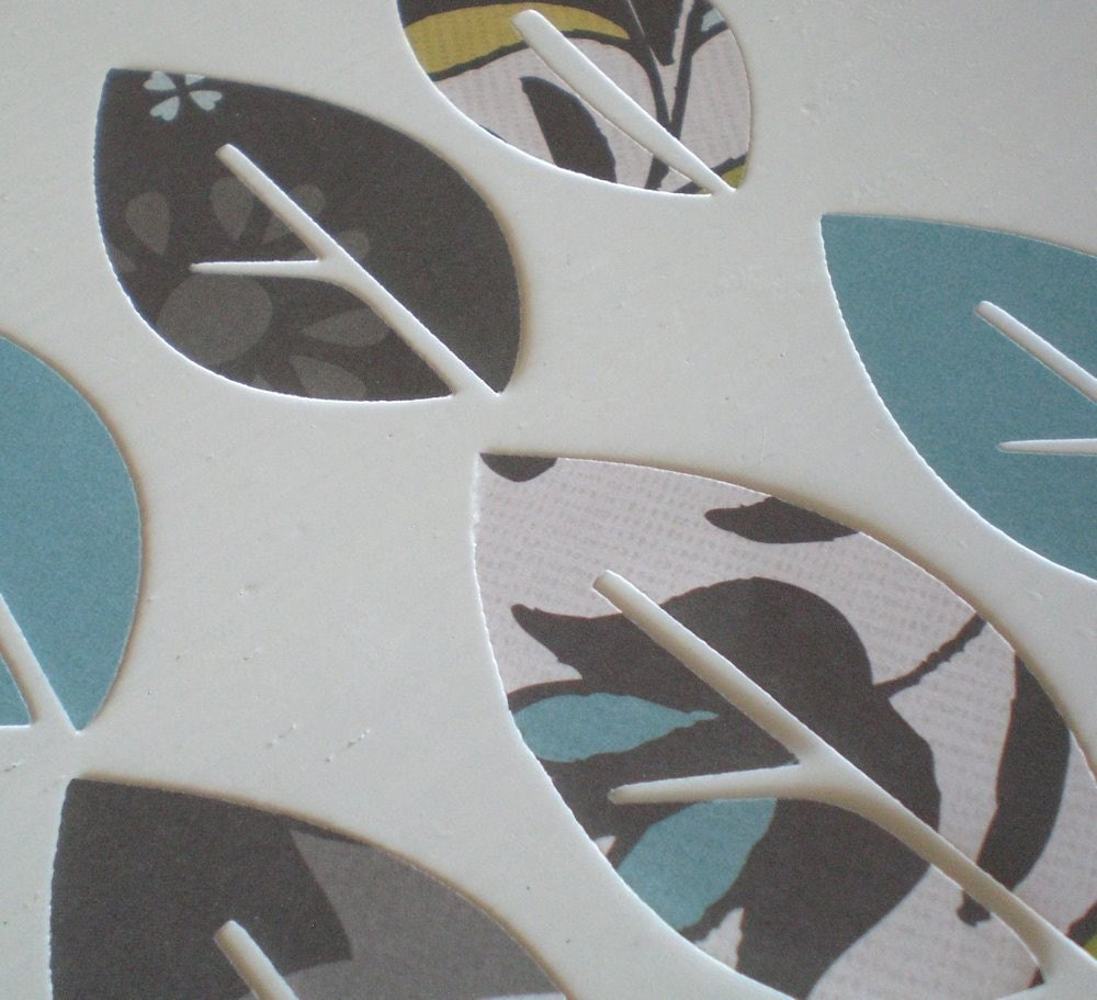 Paper Leaves- Wood Haven Green, Grey and Turquoise