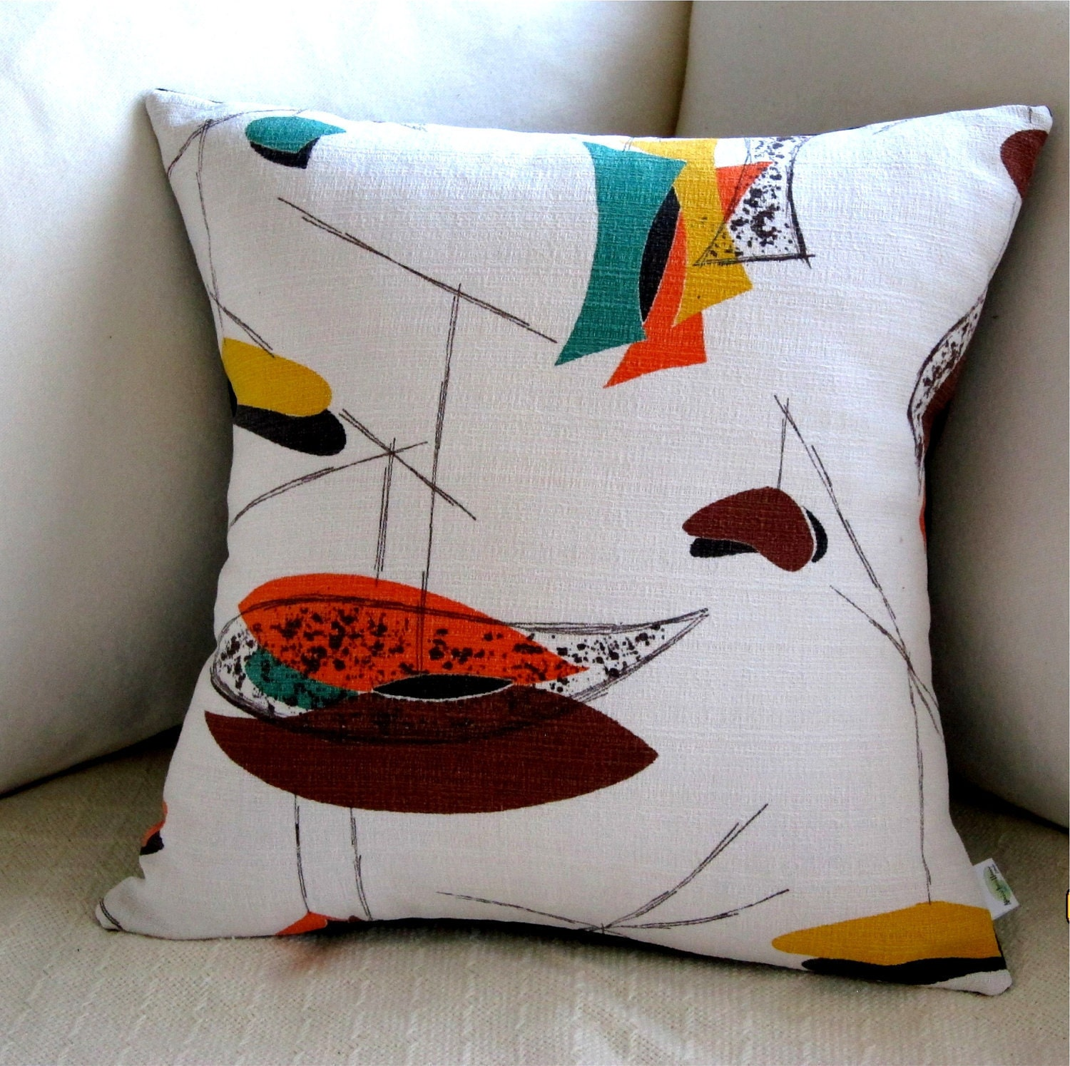 True Modern Pillows : Mid Century Modern Pillow Cover Orange Brown by atomiclivinhome