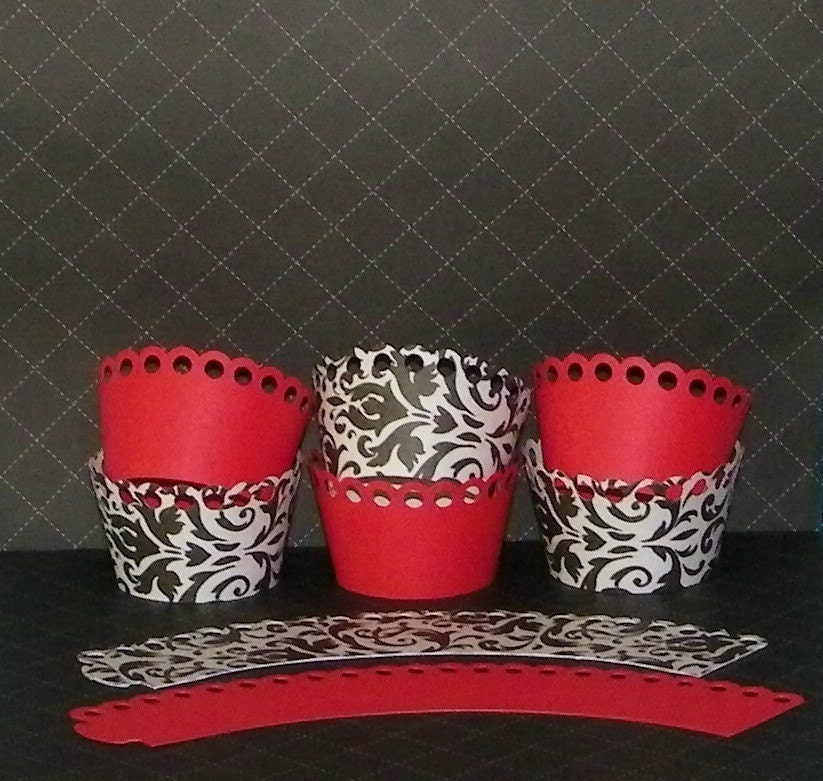 Damask and Red Cupcake Wrappers-Standard and Mini Size Available
