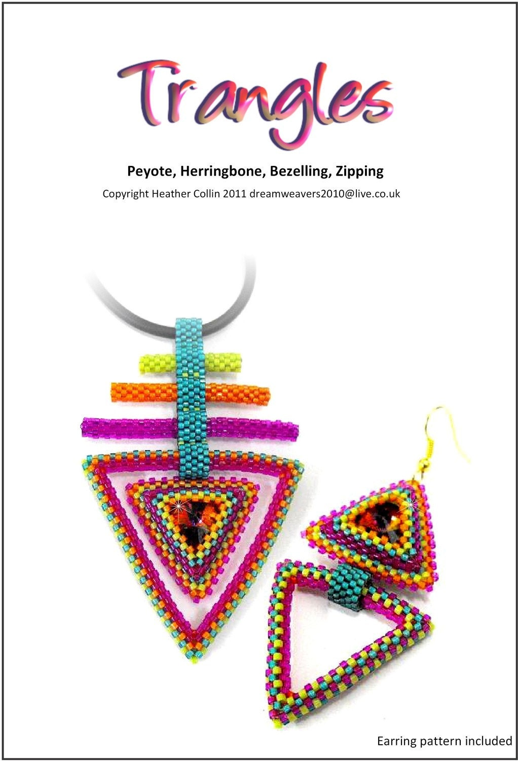 "Pendant-Earrings - PDF Beading Pattern - ""Trangles"""