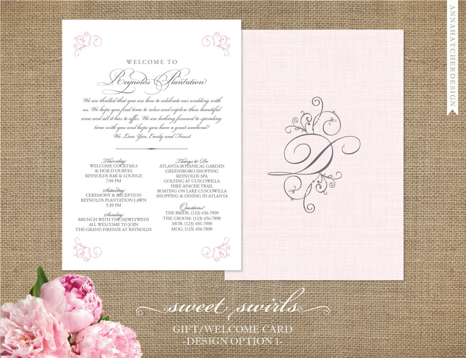 Wedding Welcome Card Sweet Swirls Collection by AnnaHatcherDesign