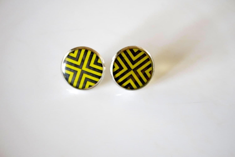 Tribal Geometry earrings, yellow modern, black, round, cross, summer look, ethnik pattern, free shipping - QueenAndEye