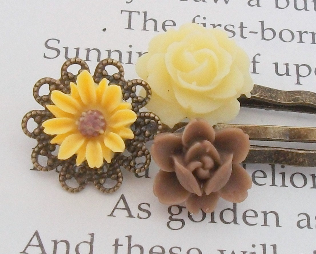 Sunflower Hair Pins