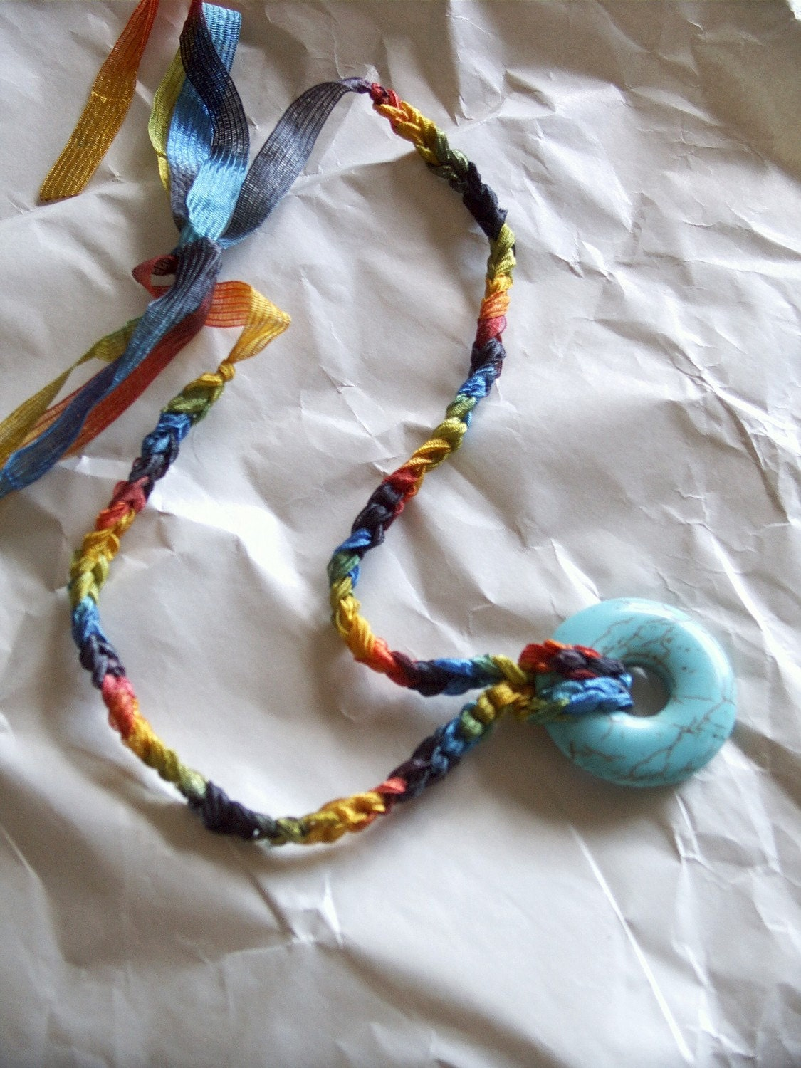 Friendship Necklace / Rainbow Crocheted Necklace with Blue Howlite Pendant