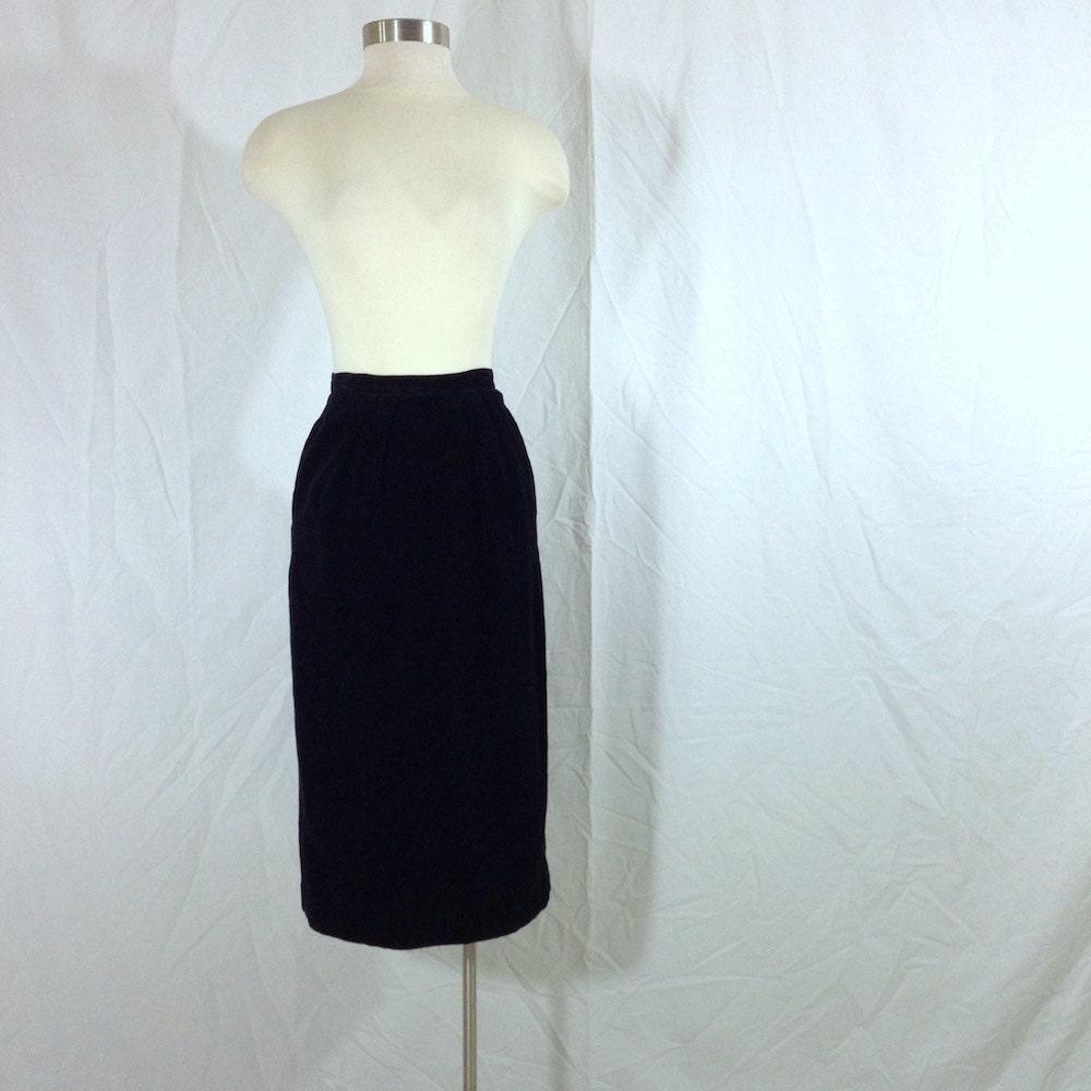 1950s black velvet pencil skirt with pockets by
