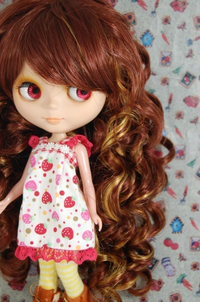 Brown and Blonde Princess Curly Wig For Blythe Doll