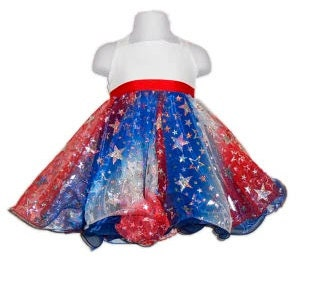 Baby Doll Pageant Red White Blue Patriotic Stars Dress - Custom Order Allison - PatrioticPrincess2