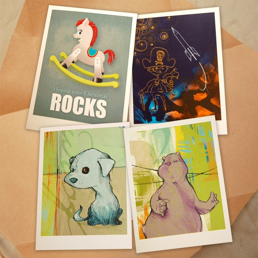 Your choice of any EIGHT Greeting Cards with Original Illustrations