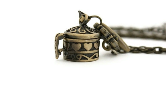 Wish box necklace pendant charm brass gifts for her birthday - Ahkriti