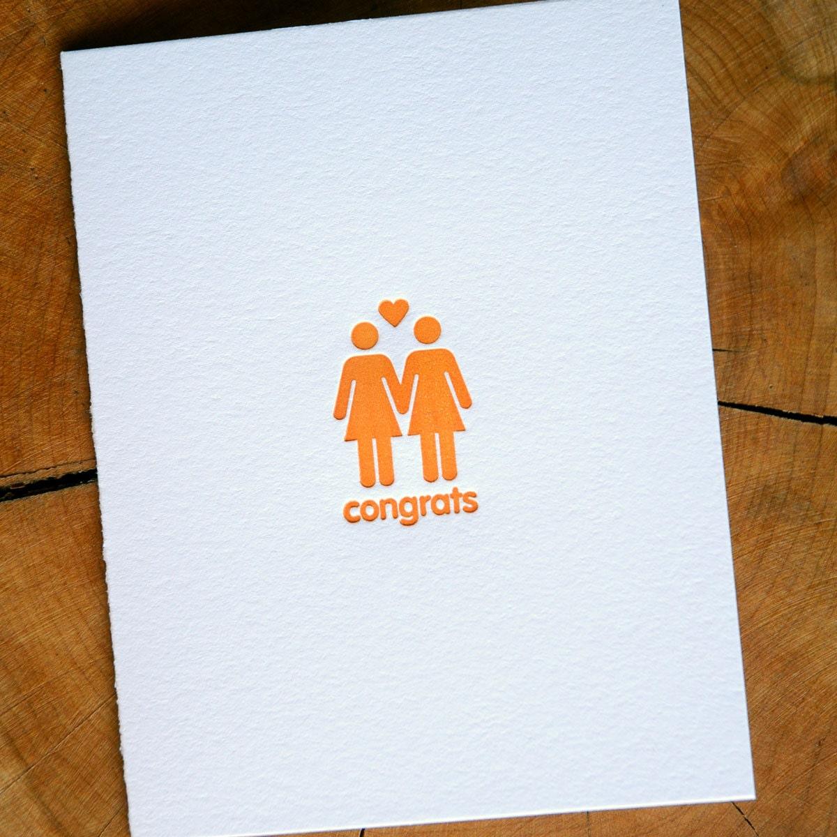Lesbian couple congrats letterpress card
