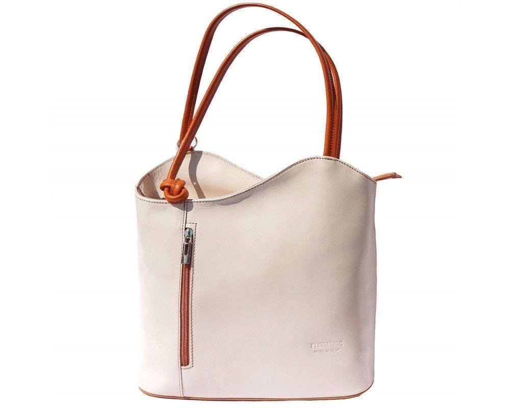 Italian handmade leather convertible shoulder bag backpack in light Beige  Tan