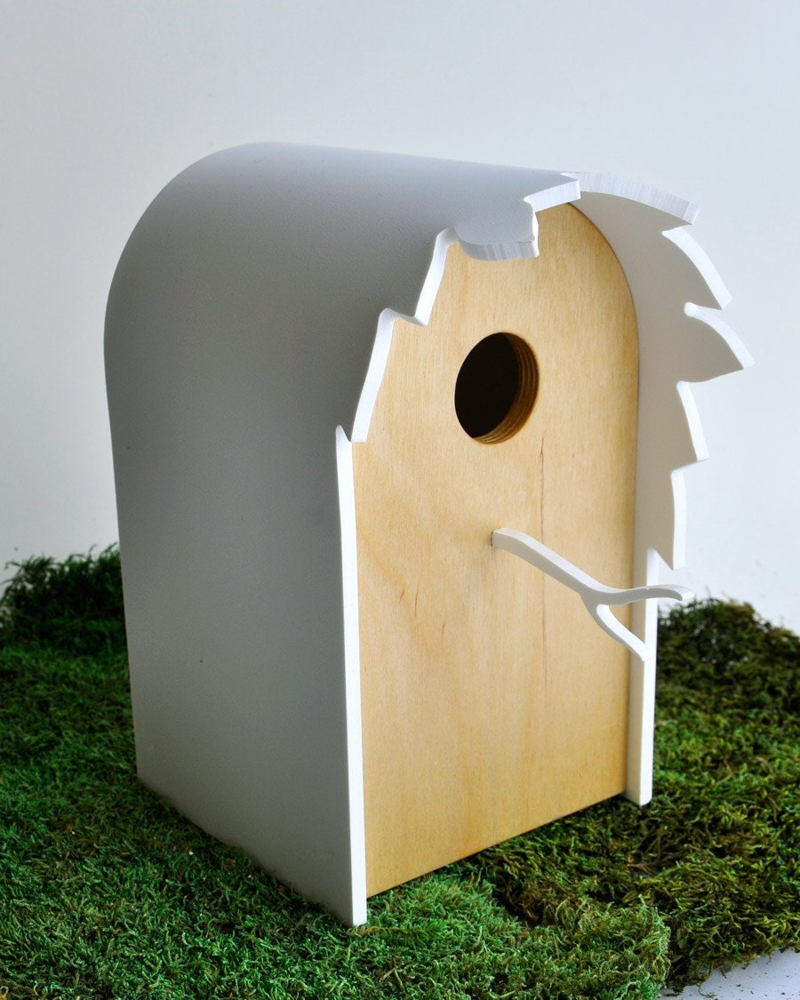 Modern Birdhouse 'Canopy'  - Contemporary birdhouse, modern garden, tree leaves silhouette