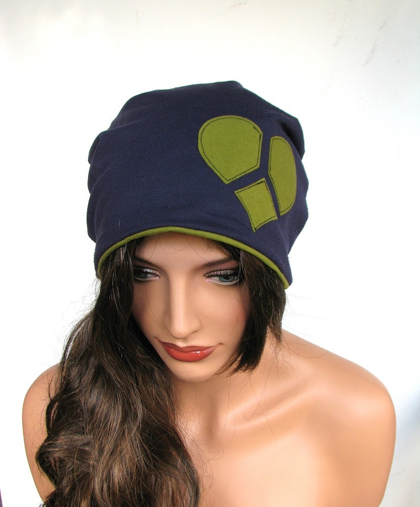 Slouchy Beanie Upcycled Clothing Heart Hat Blue Beanie Olive Green