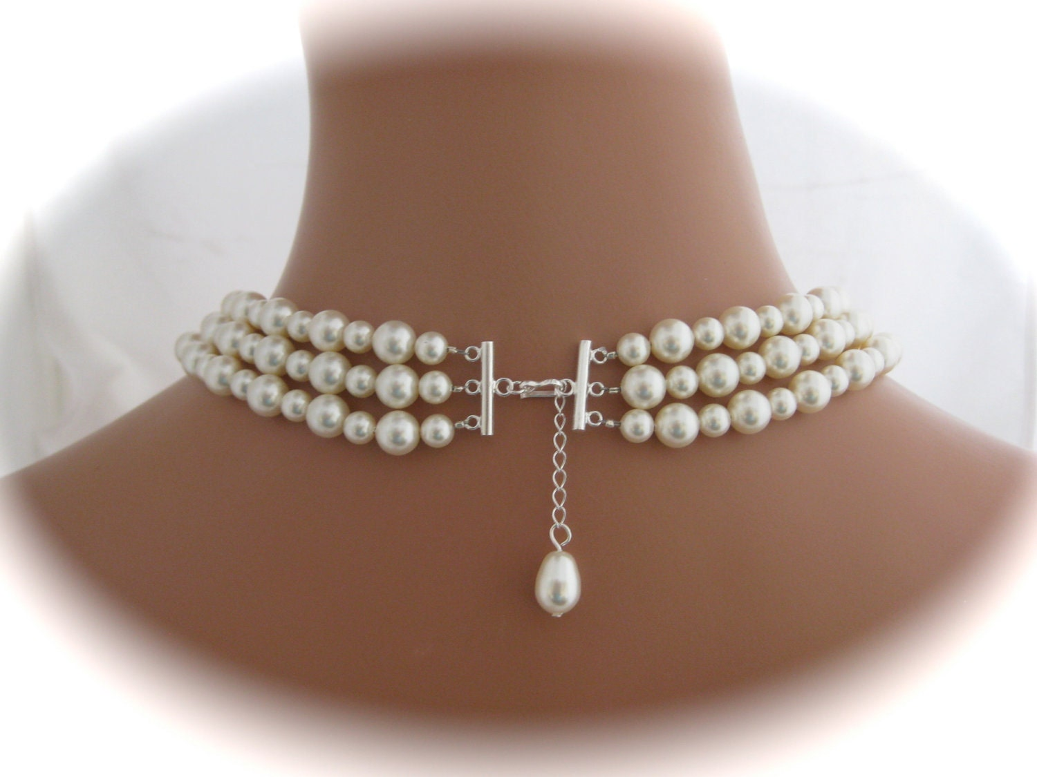 Wedding jewelry  three strand Ivory Pearl by Clairesparklesbridal