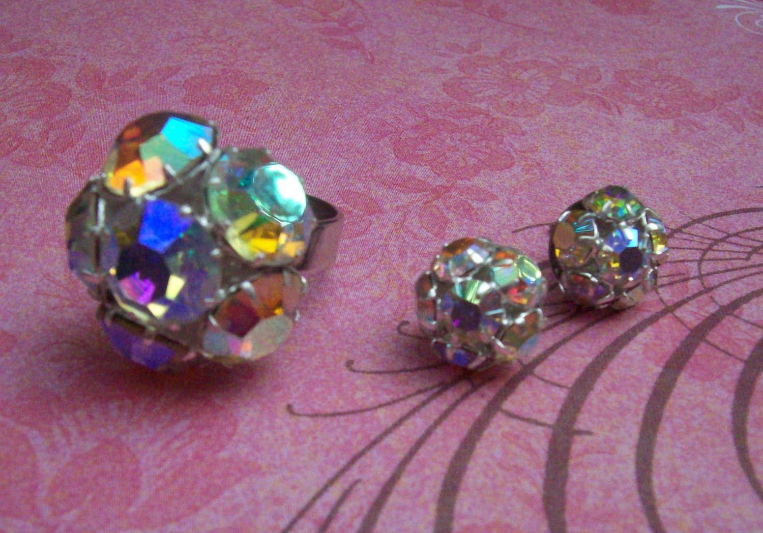 Iridescent Cluster Earrings and Ring SET- Swarvoski