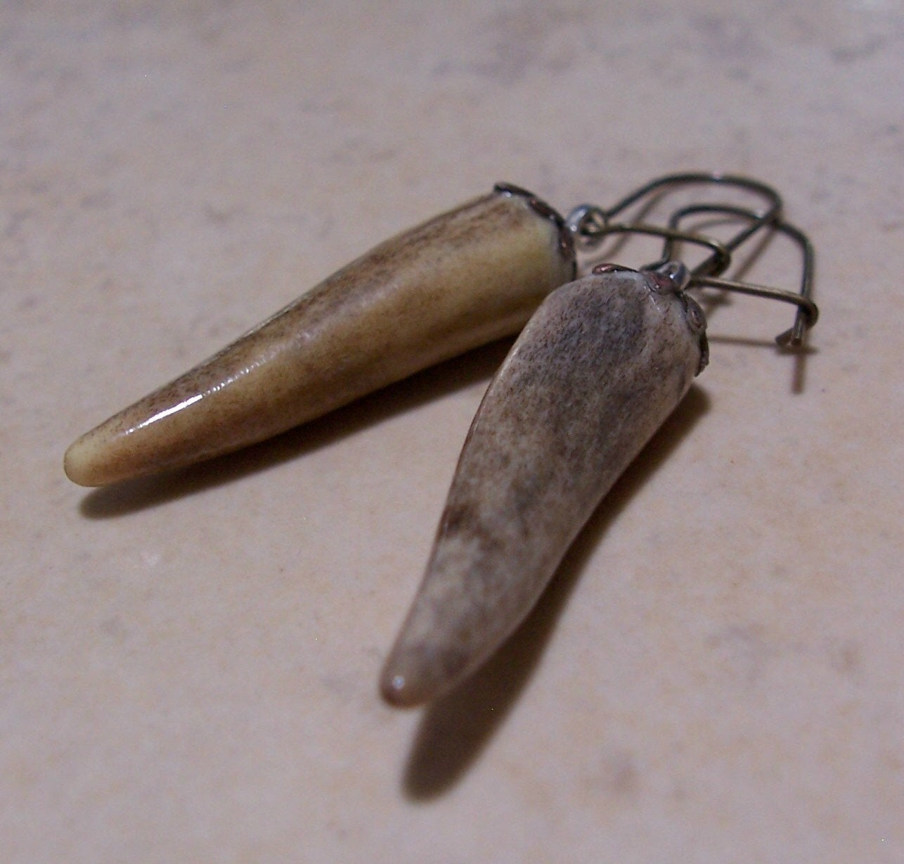 deer antler tip dangle earrings by foxaz on etsy