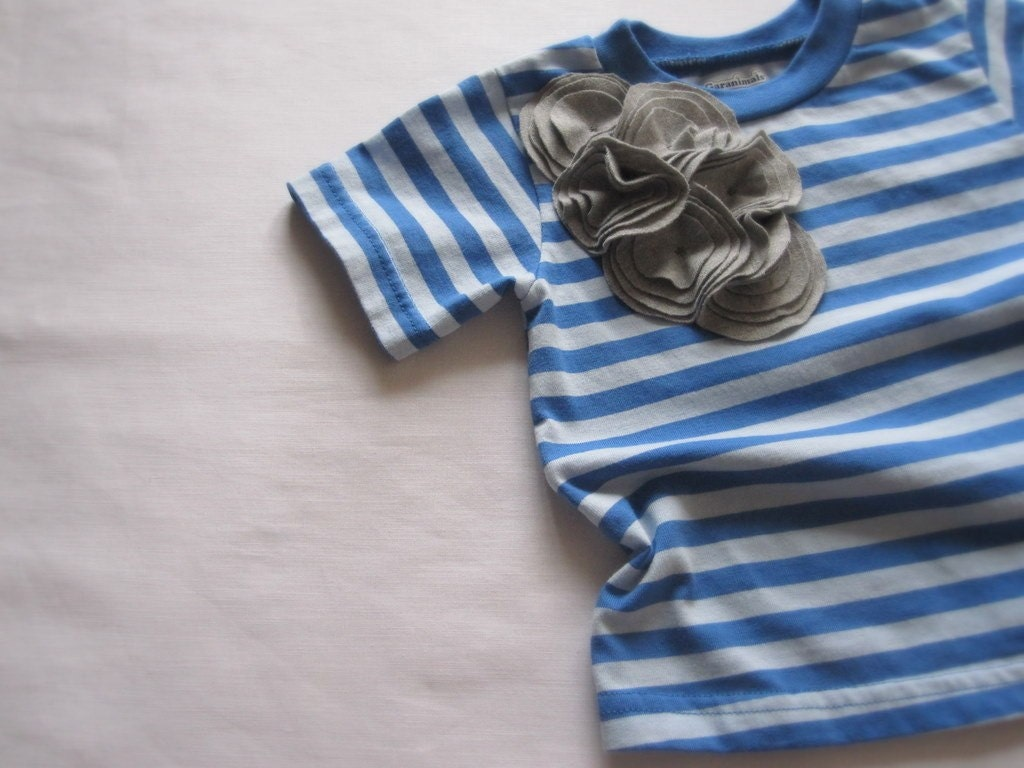 falling flower buds striped nautical toddler tshirt