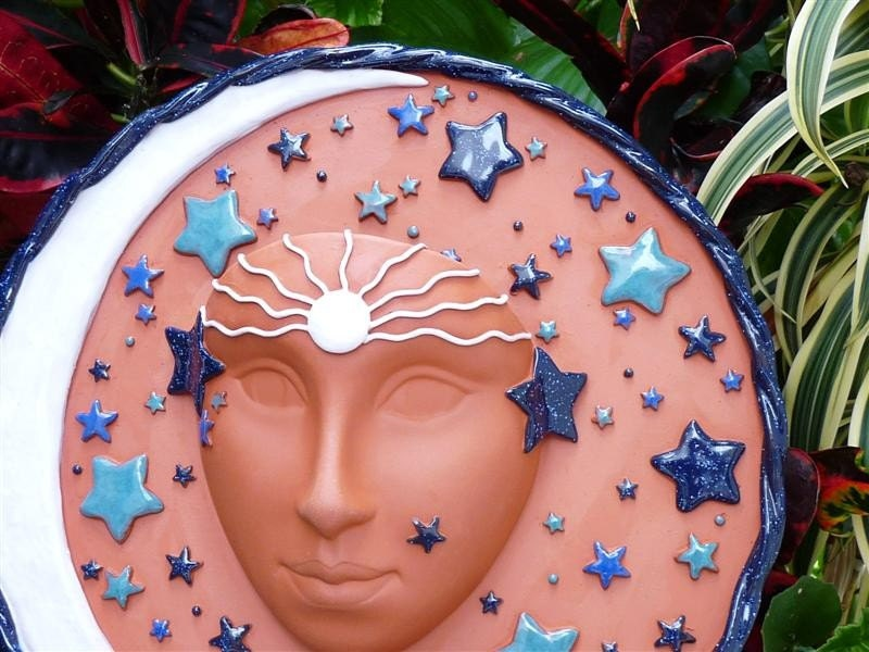 Goddess Ceramic Celestial Face Planter For The Home or Garden, Full Moon Goddess, Unique Handcrafted Garden Pottery