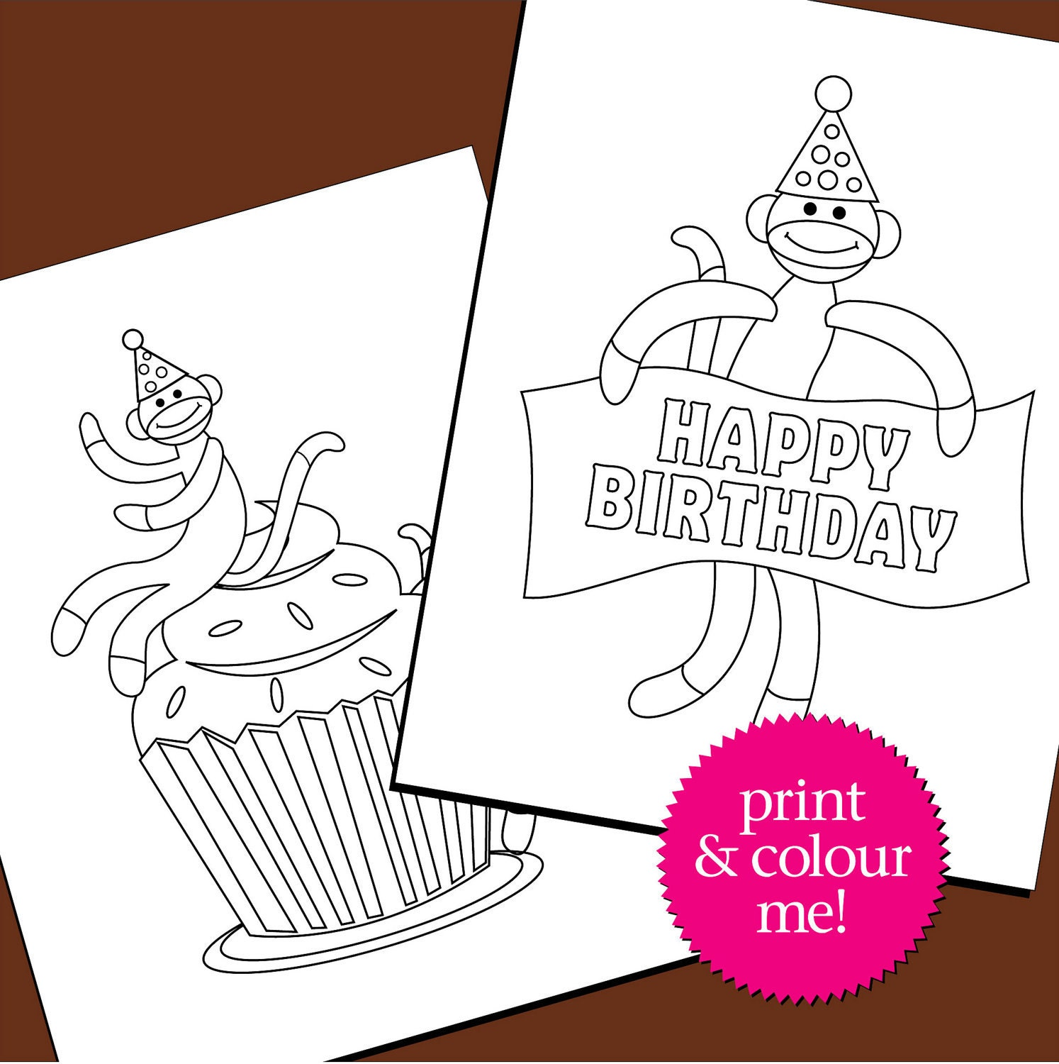 Colouring Pages Birthday Sock Monkey By TriciaPiasecki On Etsy
